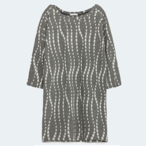 Zara Gray & White Jacquard Tunic Top Medium